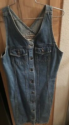 """union bay denim dress size S button up 90""""s vtg well made"""