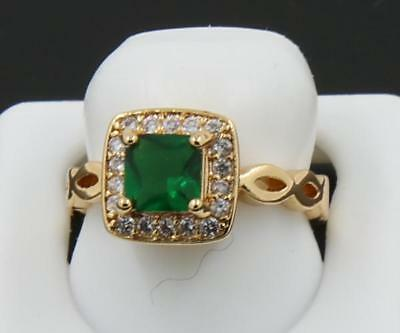 Beautiful Natural 1.16CT Emerald Solid 14K Yellow Gold Antique Lady Luxury Ring6