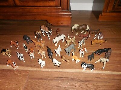 34 PAPO Animal Toys Lot Dogs Horses Lions etc. Played With Condition