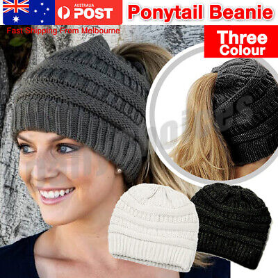 Women Tail Messy Soft Beanie Bun Hat Ponytail Stretchy Knitted Crochet Skull Ca