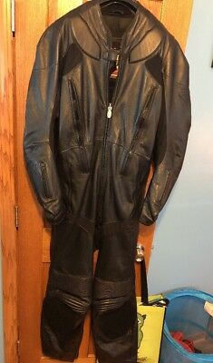 First Gear Size 48 Black Leather 1 Piece Racing Suit