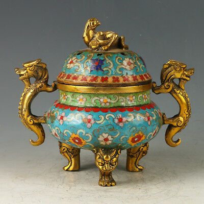 Chinese Exquisite Brass Cloisonne Three Foot Incense Burner Carved Dragon GL585