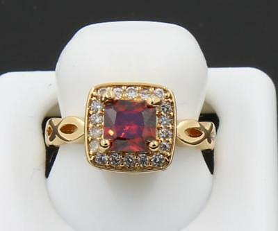 Beautiful Natural 1.16CT Garnet Solid 14K Yellow Gold Antique Lady Luxury Ring 6