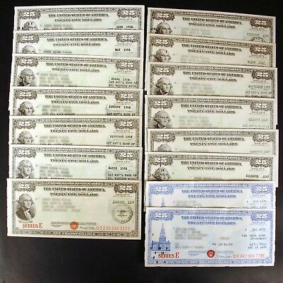 Lot of 16 $25 United States Savings Bonds Series E 1966 to 1979