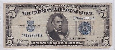 Series 1934 A Blue Seal Five Dollars $5 Silver Certificate Note