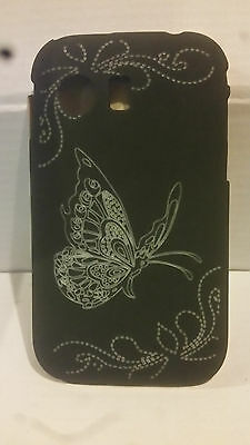 Samsung Galaxy Y S5360 Black Butterfly Hard Back Shell Case