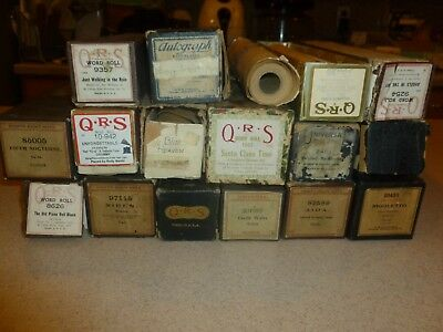 Antique & Vintage QRS Universal Eighty Eight Note Lot of 17 QUALITY Roll Piano