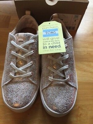 ~Nwt Girls Toms Lenny Rose Gold Crackle Foil Fashion Sneakers Shoes Sz 4Y~