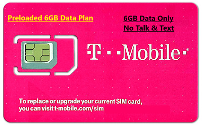 First Month 6GB of 4G LTE Data (No Text&Talk)  Preloaded T-mobile Prepaid SIM