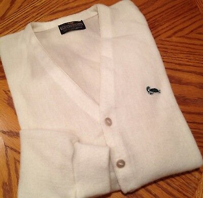 VTG 70's Mens XL 46 Crown Sportswear Turtle Patch Ivory Golf Sweater Preppy
