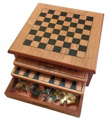 10 in 1 Wooden Chess Board Games Slide Out Best Checkers House Unit Set Brown