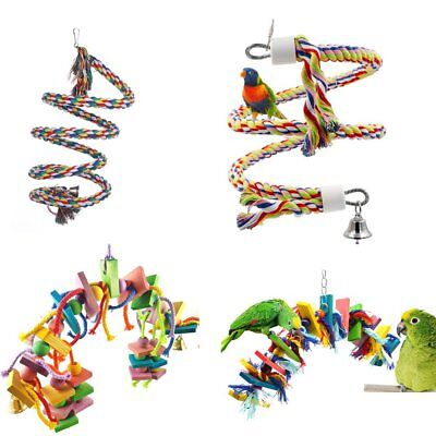 Colorful Pet Swing Bird Parrot Rope Harness Cage Hang Toys Parakeet Budgie TU