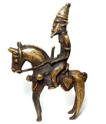 Mega Rare Superb Antique African Tribal Dogon Cast Bronze Horse Riding Warrior 2