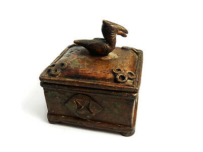 African Tribal Rare Antique Akan Ashanti Cast Bronze Ornate Gold Sand Box 3