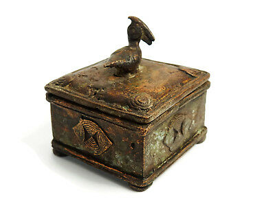 African Tribal Rare Antique Akan Ashanti Cast Bronze Ornate Gold Sand Box 1