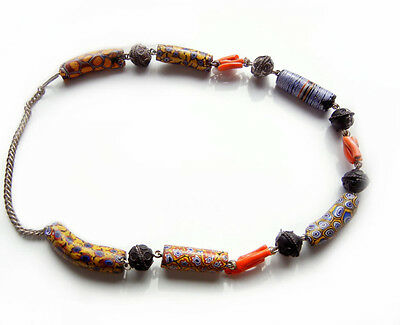 Antique African Millefiori Glass and Coral Ornate Metal Necklace