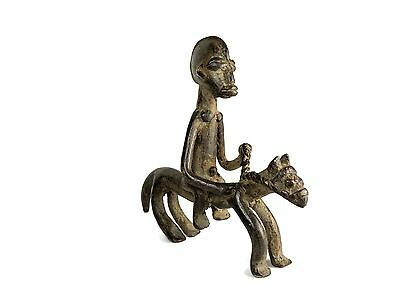 Mega Rare African Tribal Antique Baule Cast Bronze  Horse Rider