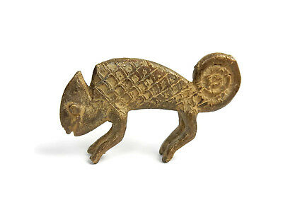 Rare Antique African Primitive Art Bronze Ashanti Gold Weight - CHAMELEON 2