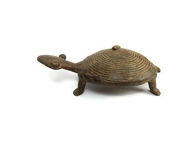 Antique African Cast Bronze Tribal Rare Ashanti Akan Turtle Sculpture 3