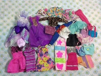 Vtg Lot Of Barbie Clothes And Accessories Dresses 80s 90s Shirts Fashion