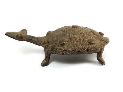 Antique African Cast Bronze Tribal Rare Ashanti Akan Turtle Sculpture