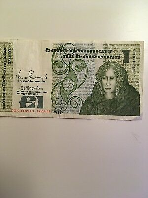 1 POUND BANKNOTE FROM IRELAND 1980 circulated