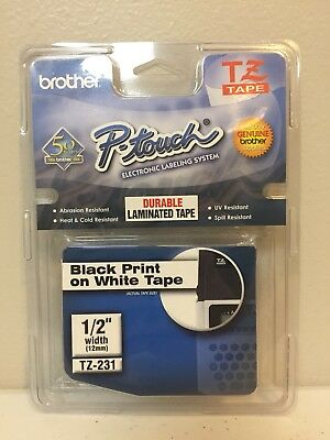 "BRAND NEW Genuine Brother P-Touch Black On White 1/2"" Tape Cartridge TZ-231"
