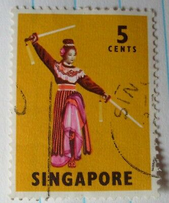 Singapore 1966 Sword Dance and Indian Dance 5c stamp