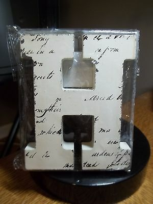 "New Off White Block Letter Blk Handwriting Letter ""h""  4.5""t X 3.75"" W"