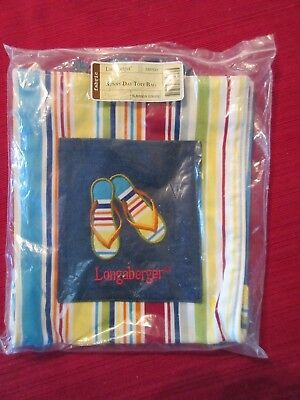 """Vintage Longaberger """"Sunny Day"""" Striped Lunch Tote Bag w/ Rope Handles"""