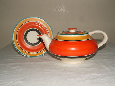 Susie Cooper-4- Grays  Art Deco Banded Tea-Pot & Rare Underplate  Truly Stunning