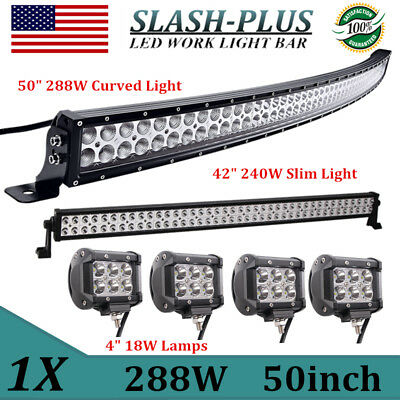 "50inch 288W Curved LED Light Combo 4WD+42"" 240W Offroad Truck+4X18W 4"" CREE SPOT"