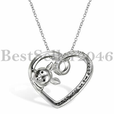 """925 Sterling Silver Engraved """" Keep Me in Your Heart """" Cute Pig Pendant Necklace"""