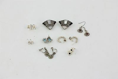 8 pairs of vintage .925 sterling silver earrings inc. gem set & deco style 26g