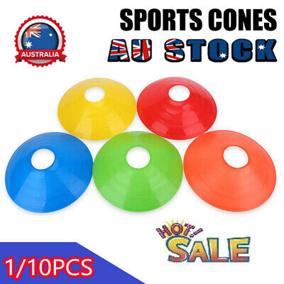 1-10 Sports Training Discs Markers Cones Soccer Afl Exercise Personal Fitness DM