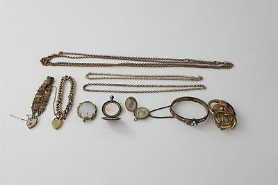 10 pieces true VINTAGE & ANTIQUE JEWELLERY rolled gold bracelets & guard chain