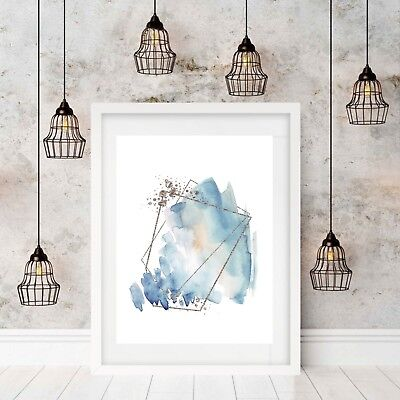 Print Abstract Blue and Silver Geometric Wall Art Watercolour  Available in A3