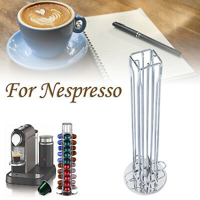 For Nespresso Revolving Rotating 40 Capsule Coffee Pod Holder Tower Stand Rack