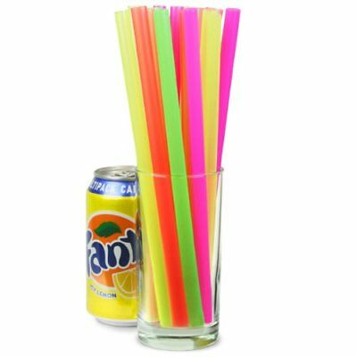 Mega Jumbo Neon Straws 9Inch - Pack Of 200 - Assorted Colour Smoothie And