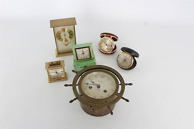 Lot of 6 x Vintage Key/Hand-Wind Clocks Mixed Designs SPARES&REPAIRS