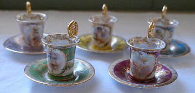 5 x Dresden antique cup and saucers - Cupid/Cherub