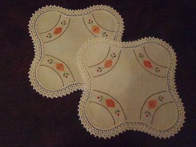 2 Vintage Hand Embroidered Doilies with Crochet Border Tangerine Floral Doyleys