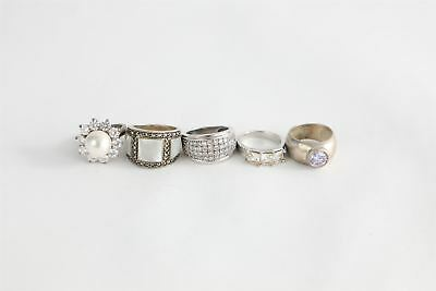 Lot of 5 x stamped .925 sterling silver rings inc. CZ & Mother of Pearl 28g