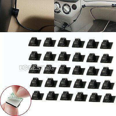 30Pcs Wire Clip Car Tie Rectangle Cable Holder Mount Clamp self adhesive Black