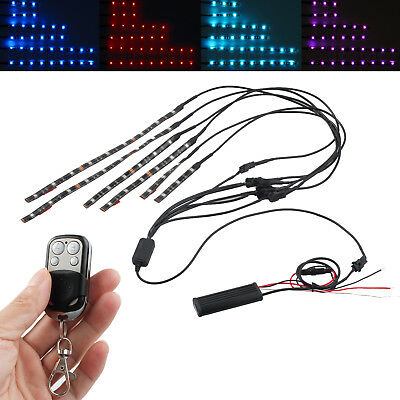 6Pcs 15 Color RGB Motorcycle ATV Flexible Strip LED Light Lamp NEON Remote Kit