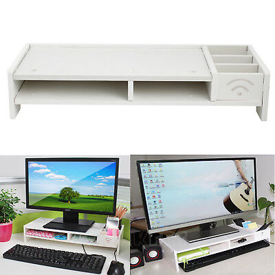 Wooden Desktop Computer TV LCD Monitor Stand Screen Riser Shelf Plinth health