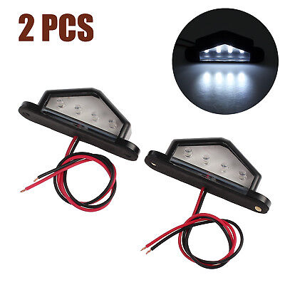 2X 4LED License Number Plate Light Tail Rear Lamp 12/24V For Truck Trailer Lorry