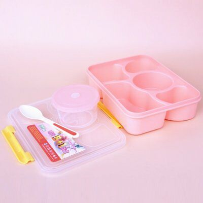 5-Compartment Bento Lunch Box Divided Food Storage Sealed Bowl Spoon Reusable TU