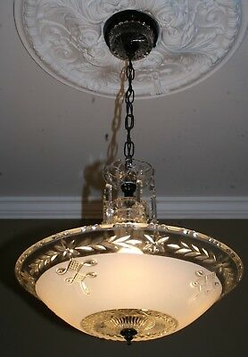 Antique white frosted glass Art Deco custom light fixture ceiling chandelier