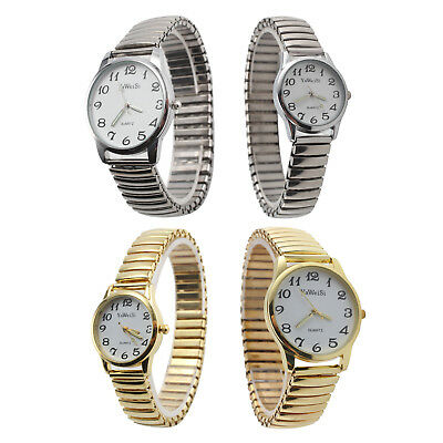 Expandable Stretch Band Strap Ladies Gents Unisex Dial Numbers Quartz Watch